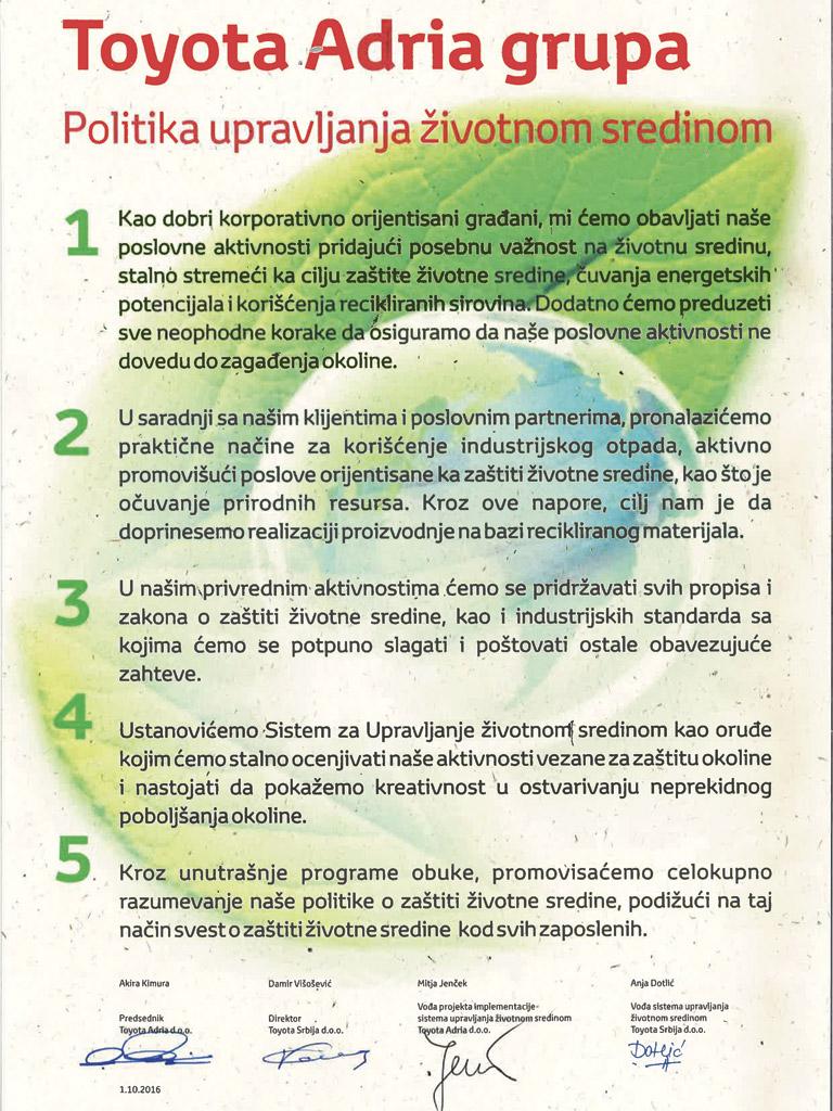 Toyota - Politika upravljanja životnom sredinom