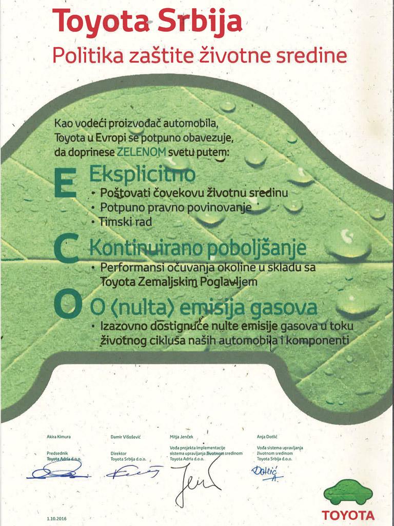 Toyota Srbija - Politika zaštite životne sredine
