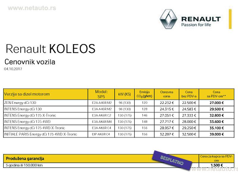 Renault Koleos cene