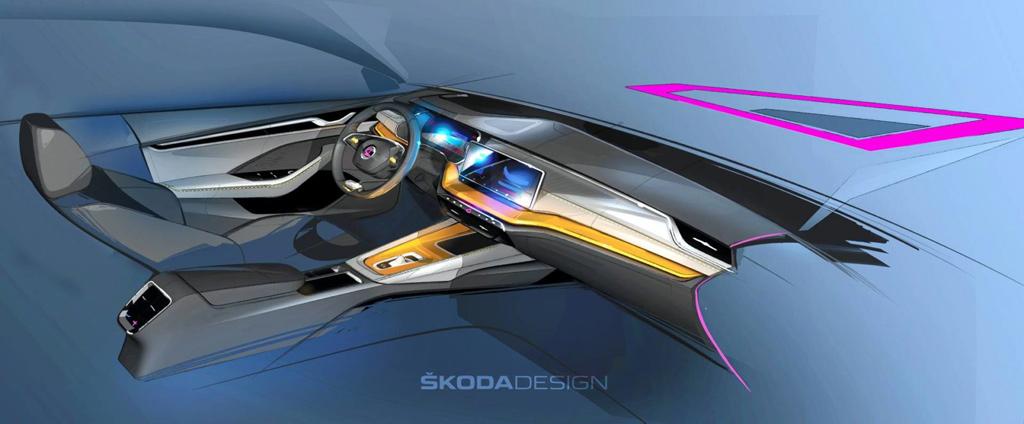 Škoda Octavia - crtež unutrašnjosti