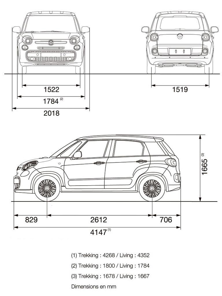 Fiat 500L - dimenzije