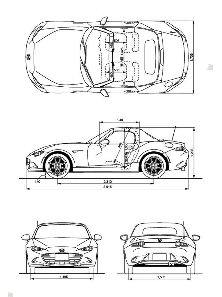Mazda MX-5  - dimenzije